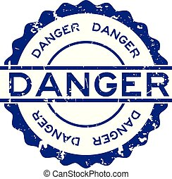 Grunge blue danger word round rubber seal stamp on white background