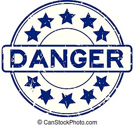 Grunge blue danger wording with star icon round rubber seal stamp on white background