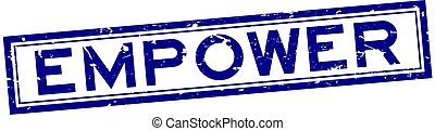 Grunge blue empower word rubber seal stamp on white background