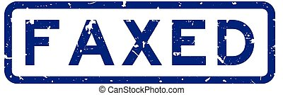 Grunge blue faxed word square rubber seal stamp on white background