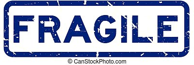 Grunge blue fragile word square rubber seal stamp on white background