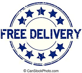 Grunge blue free delivery with star icon round rubber seal stamp on white background