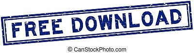 Grunge blue free download word square rubber seal stamp on white background