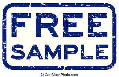 Grunge blue free sample square rubber seal stamp on white background