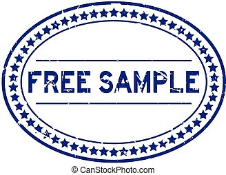 Grunge blue free sample word oval rubber seal stamp on white background