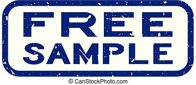 Grunge blue free sample word square rubber seal stamp on white background