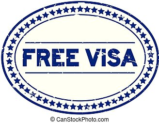 Grunge blue free visa oval rubber seal stamp on white background
