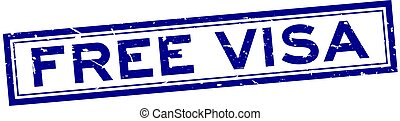Grunge blue free visa word square rubber seal stamp on white background