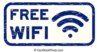 Grunge blue free wifi with signal icon square rubber seal stamp