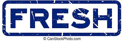 Grunge blue fresh word square rubber seal stamp on white background