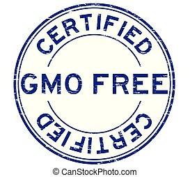 Grunge blue GMO free certified round rubber stamp