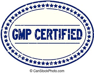 Grunge blue GMP certified oval rubber seal stamp on white background