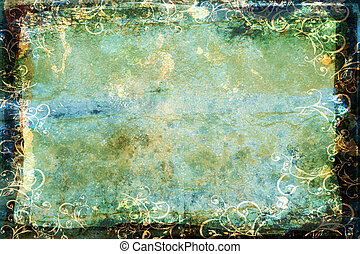 grunge blue-green background with swirl border - dark faded...