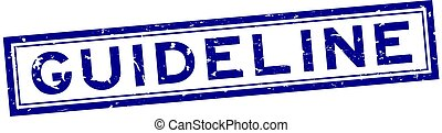 Grunge blue guideline word square rubber seal stamp on white background