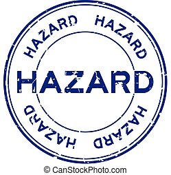 Grunge blue hazard word round rubber seal stamp on white background