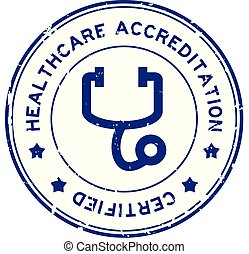 Grunge blue healthcare accreditation with stethoscope icon ...