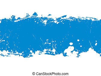 grunge blue ink splat banner with copy space and white background