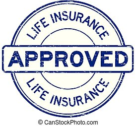 Grunge blue life insurance approved round rubber seal stamp