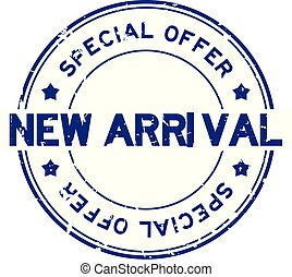Grunge blue new arrival special offer round rubber seal stamp on white background