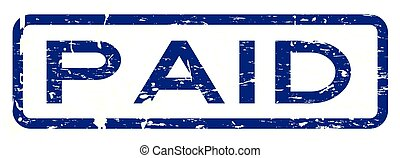 Grunge blue paid square rubber seal stamp on white background