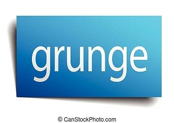 grunge blue paper sign on white background