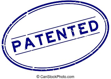 Grunge blue patented word oval rubber seal stamp on white background