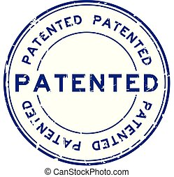 Grunge blue patented word round rubber seal stamp on white background