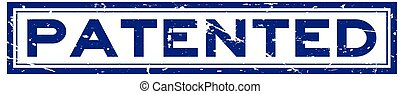 Grunge blue patented word square rubber seal stamp on white background