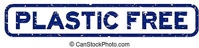 Grunge blue plastic free word square rubber seal stamp on white background