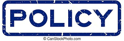 Grunge blue policy wording square rubber seal stamp on white background