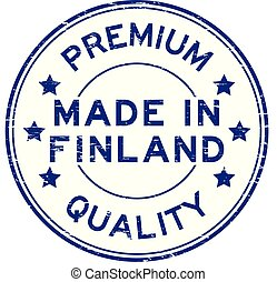 Grunge blue premium quality made in finland round rubber seal stamp