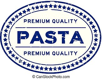 Grunge blue premium quality pasta oval rubber seal stamp on white background