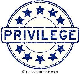Grunge blue privilege with star icon round rubber stamp