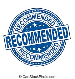 Grunge blue recommend word with star icon round rubber seal stamp on white background