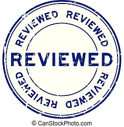 Grunge blue reviewed word round rubber seal stamp on white background