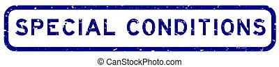Grunge blue special conditions word square rubber seal stamp on white background