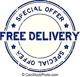 Grunge blue special offer free delivery round rubber seal stamp on white background