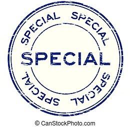 Grunge blue special round rubber stamp