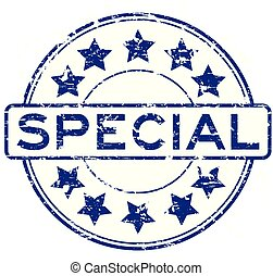 Grunge blue special with star icon round rubber stamp