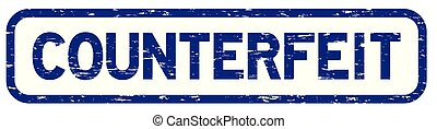 Grunge blue square counterfeit rubber seal stamp
