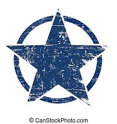 Grunge blue star in circle
