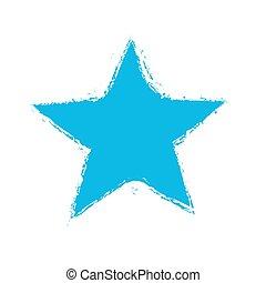 grunge blue star symbol, vector