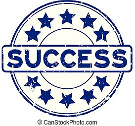 Grunge blue success word with star icon rubber seal stamp on white background