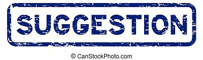 Grunge blue suggestion square rubber seal stamp on white background