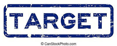 Grunge blue target square rubber seal stamp on white background