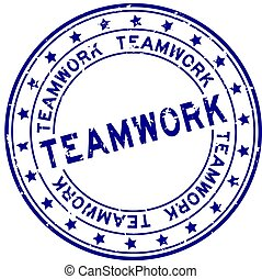 Grunge blue teamwork word round rubber seal stamp on white background