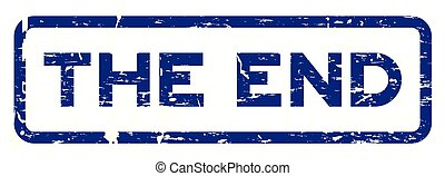 Grunge blue the end square rubber seal stamp on white background