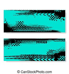Grunge blue tire track banners set