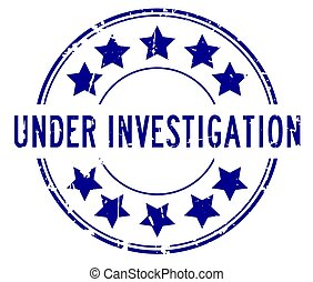 Grunge blue under investigation word with star icon rubber seal stamp on white background