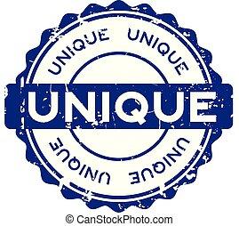 Grunge blue unique round rubber seal stamp on white background